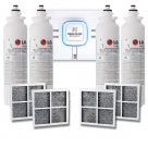 3x LG ADQ73613401(LT800P) GENUINE FRIDGE FILTER with 3x LG Air Filter ADQ73214404(LT120F)