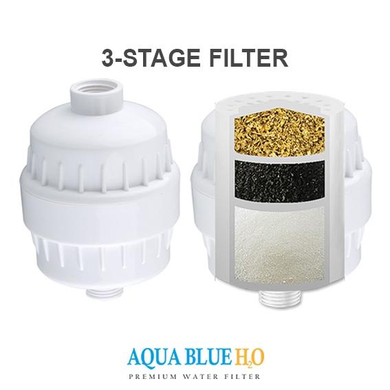 aqua blue h20 in line bath shower filter chlorine removal water purifier. Black Bedroom Furniture Sets. Home Design Ideas