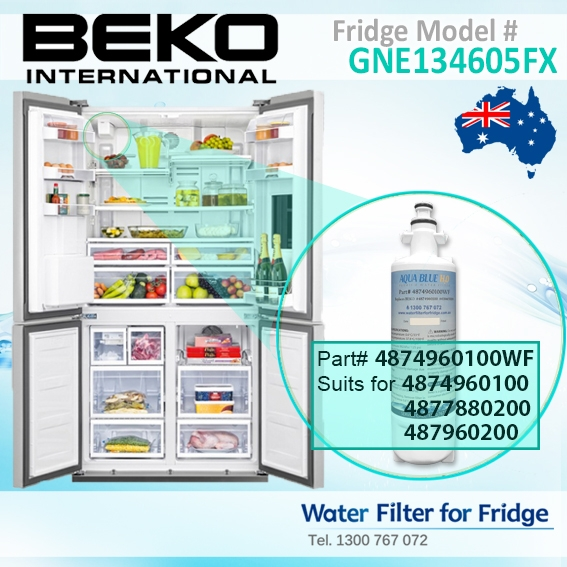 4874960100 Replacement filter suits for Beko Fridge Model GNE134605FX
