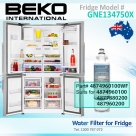 4874960100 Replacement filter suits for Beko Fridge Model GNE134750X