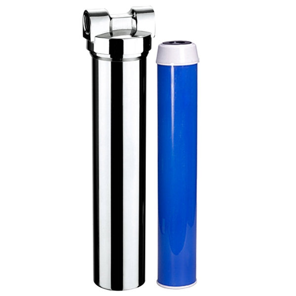 "Chrome Body 2.5"" x 20"" Carbon Block Undersink Water Filter System"