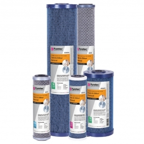 Puretec MC05MP1 Moulded Carbon Water Filter Cartridge 4.5 x 10 inch 5 Micron