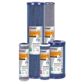 Puretec MC05MP2 Moulded Carbon Water Filter Cartridge 4.5 x 20 inch 5 Micron
