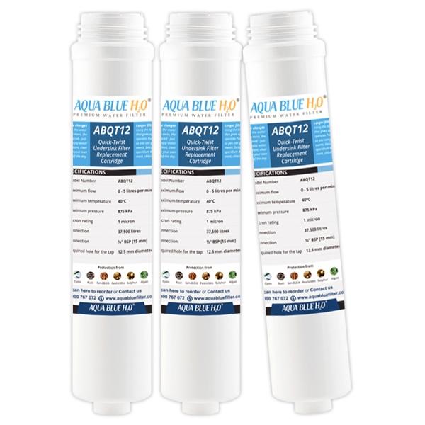 AQUA BLUE H2O ABQT12 Quick Change Water Filter Suits Puretec QT12R