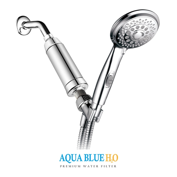 aqua blue h20 high performance shower filter with replaceable 2 stage kdf cag shower filter sf550wf. Black Bedroom Furniture Sets. Home Design Ideas