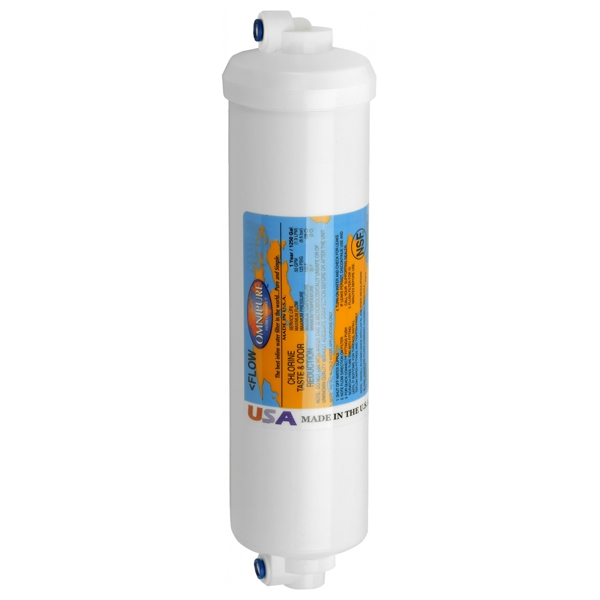 "Omnipure K5520 SS 1/4"" QC Elbow Carbon Block Inline Filter"