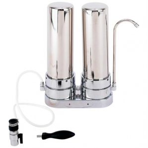Twin Countertop Drinking Water Filter System Aqua Blue H20 AB TWIN-SS