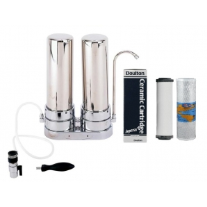 Doulton Ceramic Superblock Twin Countertop Stainless Steel Water Filter System