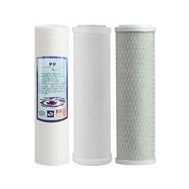 "Undersink 3 Stage Water Cartridges Ceramic -PP- Carbon 10""- Complete Set"