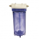"""CLEAR Water Filter Housing 10"""" x 2.5"""" with 1/2"""" NPT Ports 