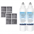 2xLG Replacement Water Filter ADQ73613401(LT800P) with 2xLG Air Filter ADQ73214404(LT120F)