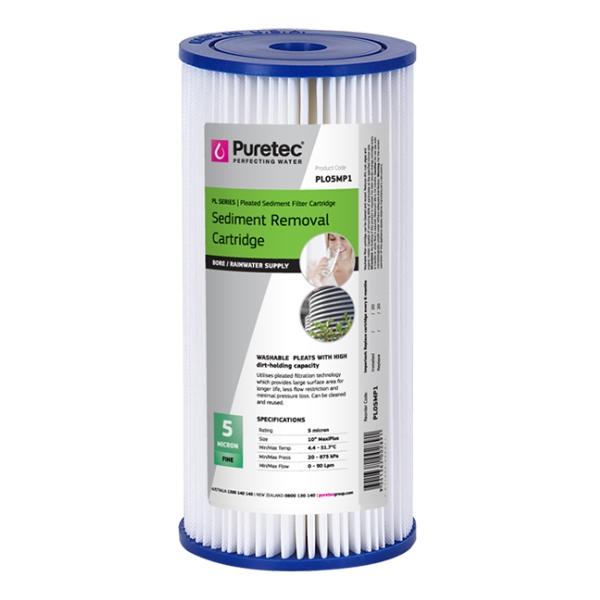 Puretec PL05MP1 Pleated Sediment Water Filter Cartridge 4.5 x 10 inch 5 Micron
