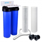 "20 Inches Big Blue Twin Water Filter Housing, 10 Micron CTO Carbon Block and 5 Micron Sediment Water Filter, Port Size 1""-3/4"""