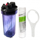 10 Inch Clear Big Blue Housing with Presser Relief Button, Puretec GW051 Water Filter Cartridge
