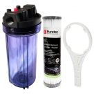 10 Inch Clear Big Blue Housing with Presser Relief Button,  Puretec PL201 Water Filter Cartridge