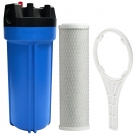 10 Inch Big Blue Housing with Presser Relief Button, 10 Micron CTO Carbon Block Filter