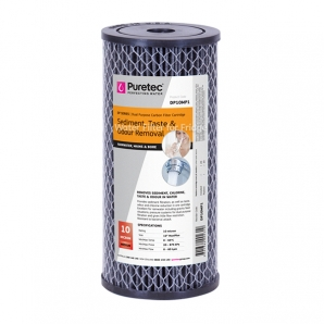Puretec DP10MP1 Dual Carbon Water Filter Cartridge 4.5 x 10 inch 10 Micron