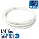 "50 Metres Icemaker Water Filter Pipe Tube Hose 1/4"" 6mm NSF Tubing LLDPE 15 Bar"