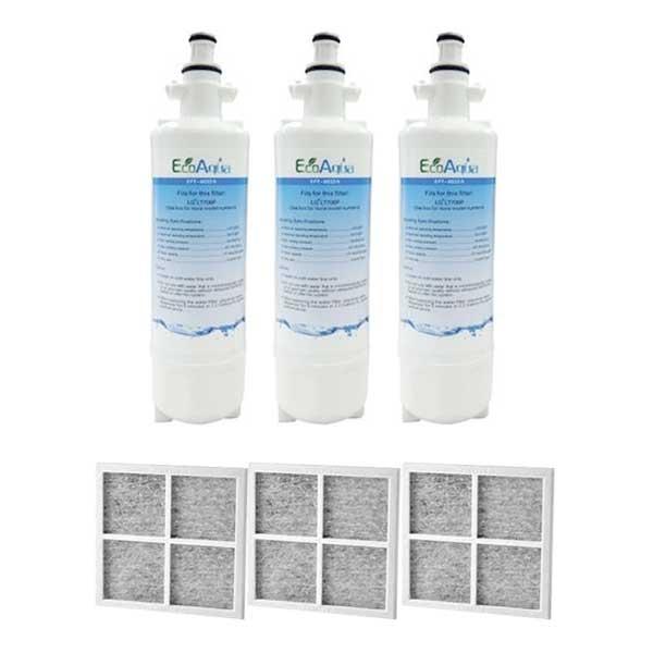 3x LG Replacement Water Filter LT700P + 3x LT120F Generic Air Filter