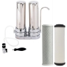 Twin Counter-top Drinking Water Filter System Aqua Blue H20