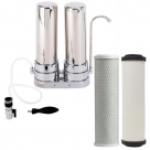 Twin Countertop Drinking Water Filter System with Carbon Block and Doulton W9221000 Water Filter Cartridges