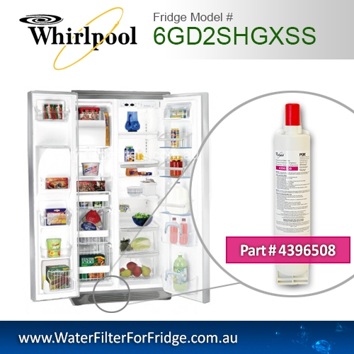 6GD2SHGXSS Whirlpool fridge filter replacement number 4396508/8212652