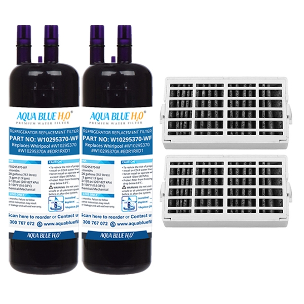 2x Whirpool Air Filter + 2x W10295370 Set by Aqua Blue H20