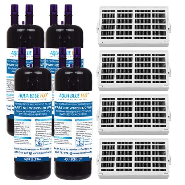 4x Whirpool Air Filter + 4x W10295370 Set by Aqua Blue H20