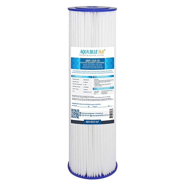 "ABPL1025 Pleated Sediment Water Filter Cartridge 10"" 5 Micron by Aqua Blue H20"