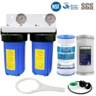 Twin Whole House Water System - Dual Stage PP Compressed with GAC, Pleated Sediment Filter
