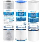"Big Blue 20""x4.5"" Whole House CTO Carbon Block Pleated Sediment Polyspun Water Filter 3 Pcs Set"