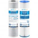 """Big Blue 20""""x4.5"""" Whole House CTO Carbon Block 10M, Pleated Sediment Water Filter 2 Pcs Set"""