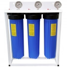 "20"" Big Blue Triple Housing with Stand PP Sediment supported with NANO-ZINC, Activated Carbon Block Filters"