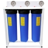 """20"""" Big Blue Triple Housing with Stand PP Sediment supported with NANO-ZINC, Activated Carbon Block Filters"""