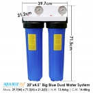 20 Inch Big Blue Twin Water Filter Housing with Stand, 10 Micron Carbon Block and 5 Micron Sediment Water Filter