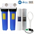 """20 Inches Big Blue Twin Water Filter Housing, 10 Micron CTO Carbon Block and 5 Micron Sediment Water Filter, Port Size 1""""-3/4"""""""