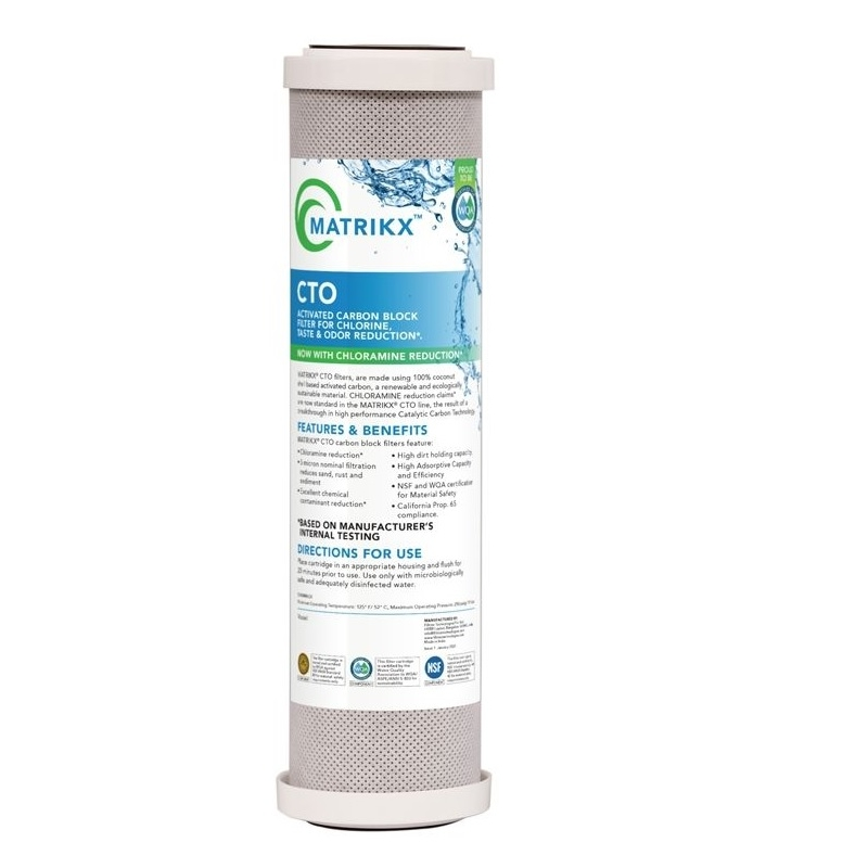 """New model  Matrikx + CTO/2 Coconut Water Filter 5 Micron 10"""" 32-250-10-MATRIKX now with  Chloramine reduction"""