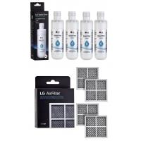 4x LG LT1000P MDJ64844601 ADQ74793501 water filter with 4x LG fridge air filter LT120F ADQ73334008