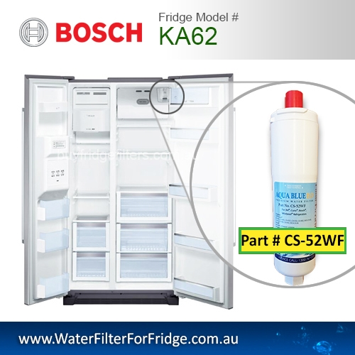KA62 Bosch Fridge Model 640565 3M CS-52 Premium Water Filter by Aqua Blue H20