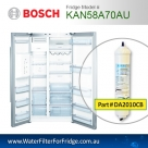 Bosch Fridge Model KAN58A55 Compatible External In-Line Water Filter Replacement (DA2010CB) by Aqua Blue H2O
