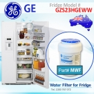 REPLACEMENT FILTER FOR GZS23HGEBB GE SmartWater MWF Refrigerator Water Filter