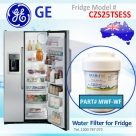 GE MWF MWFP SmartWater Internal Fridge Model CZS25TSESS Water Filter by Aqua Blue H2O