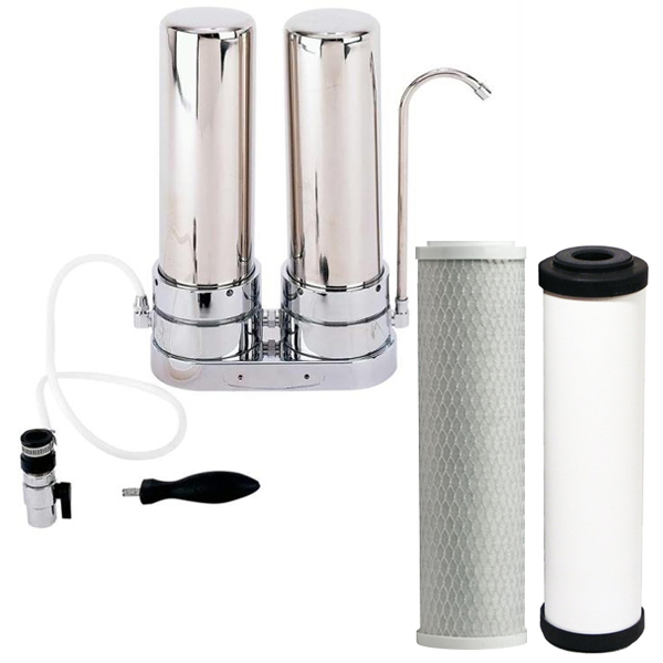 Twin Filter System For Counter Top Carbon Filter With